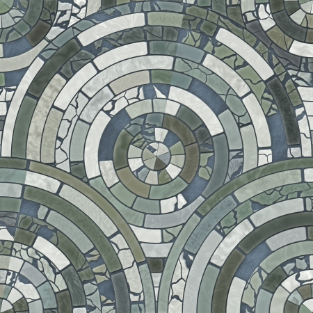 Blue circle stone floor tiles Stock Photo
