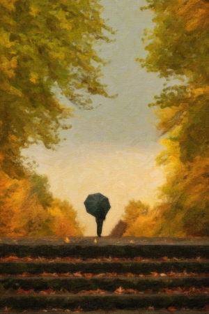 Digital painting of lonely man with umbrella walking in autumn park