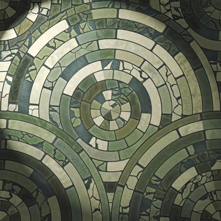 Green circle stone floor tiles photo