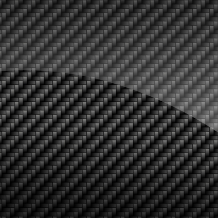 fibre: Black glossy carbon fiber background or texture Stock Photo