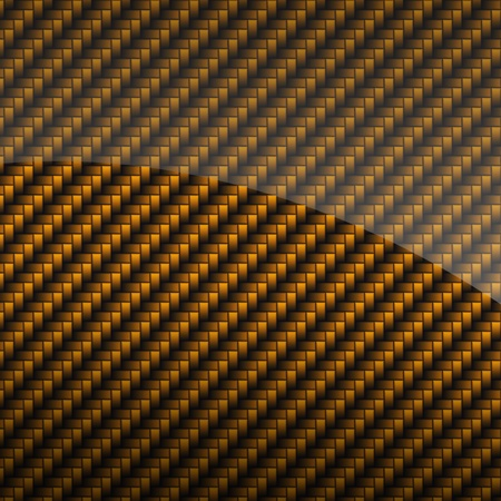 Golden glossy carbon fiber background or texture photo
