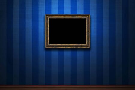 Old wooden frame on blue retro grunge wall Stock Photo - 16889134