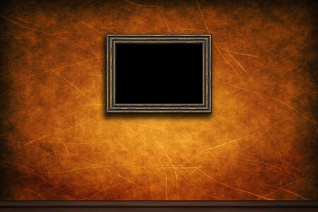 Old wooden frame on brown retro grunge wall photo