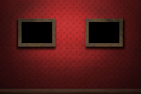 Old wooden frames on red retro grunge wall photo