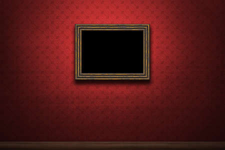 Old wooden frame on red retro grunge wall photo