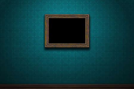 Old wooden frame on blue retro grunge wall photo