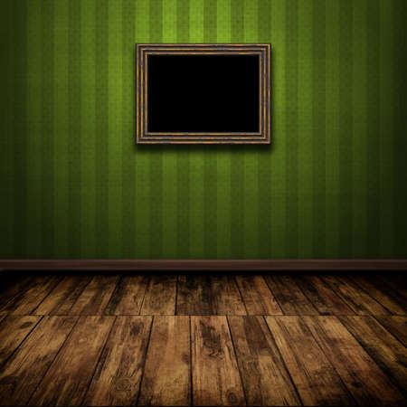 painted wood: Dark vintage room with wooden floor and old frame on the wall Stock Photo