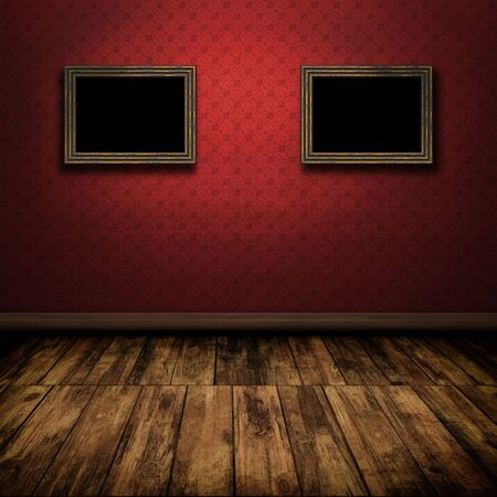 wooden floor: Dark vintage room with wooden floor and old frames on the wall