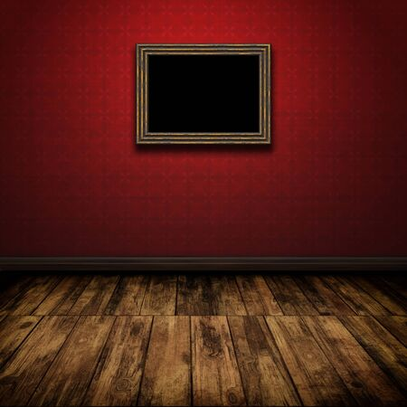 Dark vintage room with wooden floor and old frame on the wall photo