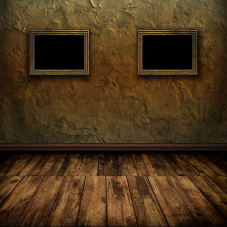 Dark vintage room with wooden floor and old frames on the wall photo