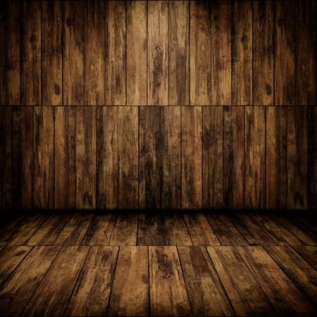 western background: Grunge cabin interior with a wooden wall and floor