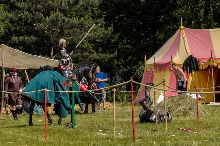 jousting: CHORZOW,POLAND, JUNE 9: Medieval knight defeated in jousting during a IV Convention of Christian Knighthood on June 9, 2013, in Chorzow