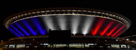 KATOWICE, POLAND - NOVEMBER 14: Je suis Parisien lights at Voivodeship Sport and Show Arena called Spodek, November 14, 2015 in Katowice, Poland