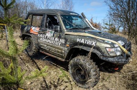 4x4: OGRODZIENIEC, POLAND - March 19. Off-road Penrite H6 4x4 competition on March 19, 2016 in Ogrodzieniec, Poland