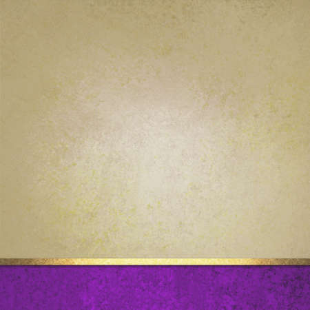 elegant brown background paper with purple footer and gold ribbon accent, beige background, fancy blank poster photo