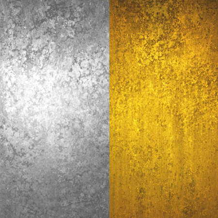 silver and gold background graphic art textures, gold foil and silver foil sidebar panels Foto de archivo