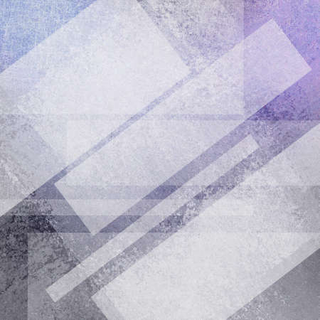 artsy: purple gray background design, white angled rectangle shapes with copyspace for text or title, transparent white layers in abstract artsy pattern Stock Photo