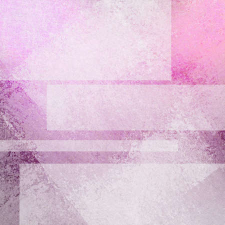 pink purple background design, white rectangle shapes with copyspace for text or title, transparent white layers in abstract artsy pattern Stock Photo