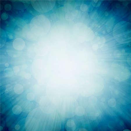 zoomed in: bright white sunburst design on teal blue sunburst pattern background with white bokeh lights, zoomed in effect border