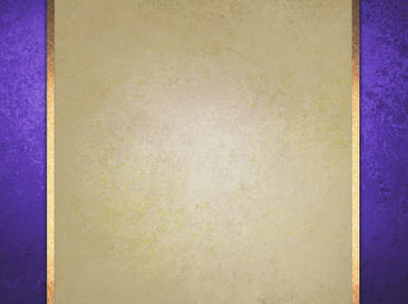 formal elegant light brown paper background with purple border and gold ribbon or stripe layers, has vintage distressed texture 版權商用圖片