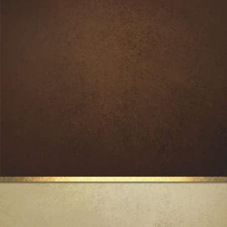 dark brown background website or poster layout, fancy elegant off white vintage textured footer with gold ribbon trim, luxury background template design Foto de archivo