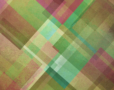 diagonal: abstract background green and pink square and diamond shaped transparent layers in diagonal pattern background Stock Photo