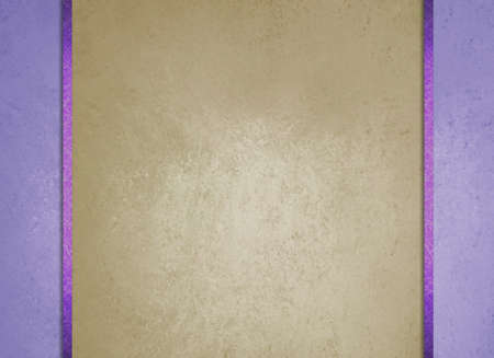 side bar: formal elegant light brown paper background with purple border and dark purple ribbon or stripe layers, has vintage distressed texture