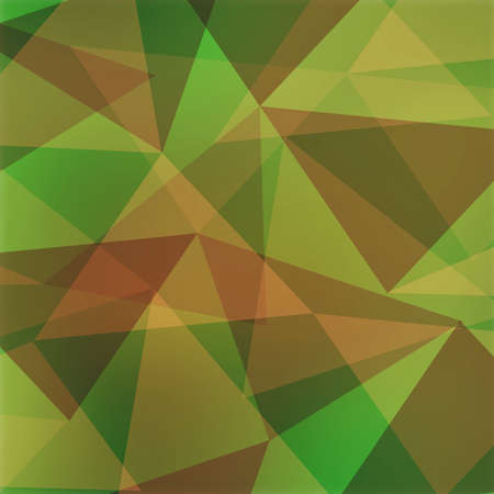 angled: abstract triangle background, green yellow and orange brown angled shapes in random design Stock Photo