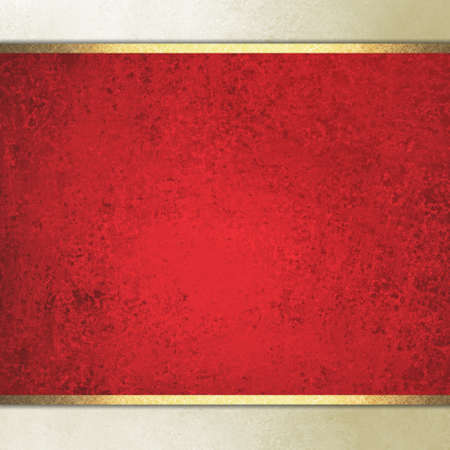 sidebar: formal elegant light red paper background with red center and beige border and gold ribbon or stripe layers, has vintage distressed texture Stock Photo
