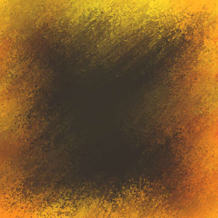 smeared: rough background texture of black smeared paint on orange and yellow frame Stock Photo