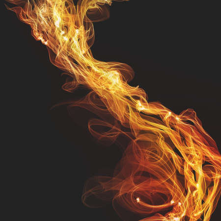 wispy: flames or fire design illustration, spirals and curls of wispy flames in diagonal pattern on black background