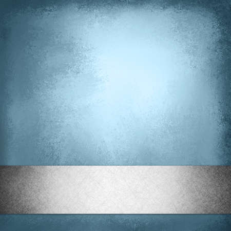 silver background: vintage blue background with silver gray ribbon trim on bottom border, elegant fancy layout template design, blue brochure or web design with footer bar or stripe with faint shadow effect