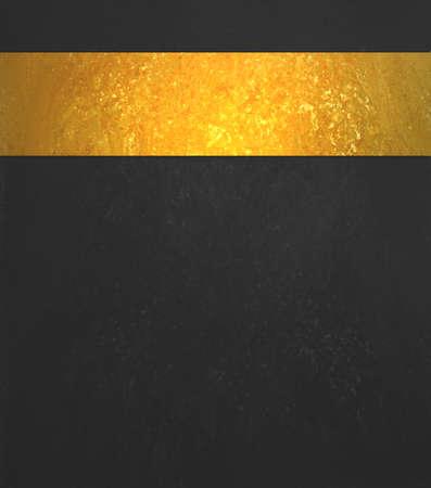 Black background. Luxury shiny gold ribbon. Black website template design.