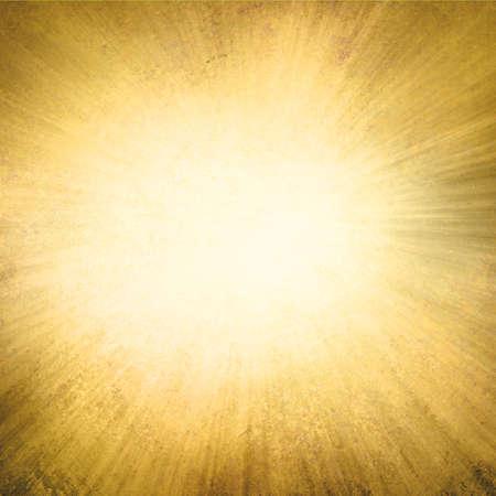 gold background, yellow streaks of light radiate from center to dark brown frame in sunburst pattern