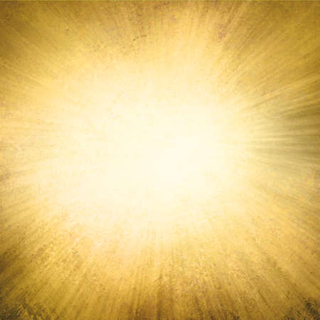 gold background, yellow streaks of light radiate from center to dark brown frame in sunburst pattern
