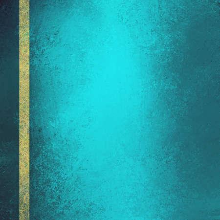 teal blue green background with gold ribbon. Distressed vintage grunge background texture, elegant formal luxury background design. teal blue green website background