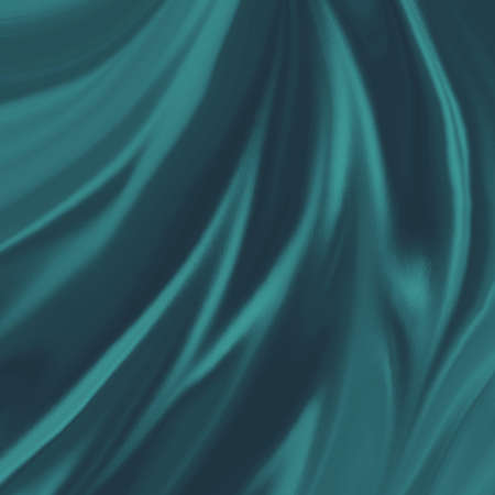 teal blue green material background illustration, elegant waves of silk or satin fabric flowing or draped in abstract design