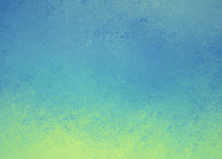 old page: blue background with yellow green grunge border design, cool fresh colors and rough distressed texture, blank website or brochure background template Stock Photo