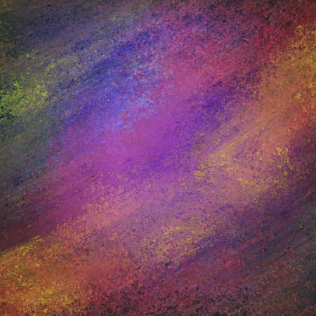mauve: abstract dark background with messy grunge textured paint in purple pink orange green blue yellow gray and gold Stock Photo