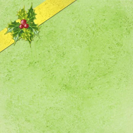 menu background: abstract green Christmas background with gold ribbon and holly design in corner, Christmas wrapped package concept, Christmas present or gift illustration, elegant holiday background layout
