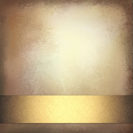 business events: shiny gold ribbon on brown gold background with vintage texture and brown distressed border Stock Photo