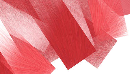 feathery: abstract red rectangles layered in artsy design with detailed transparent brush strokes of feathery lines in material texture Stock Photo