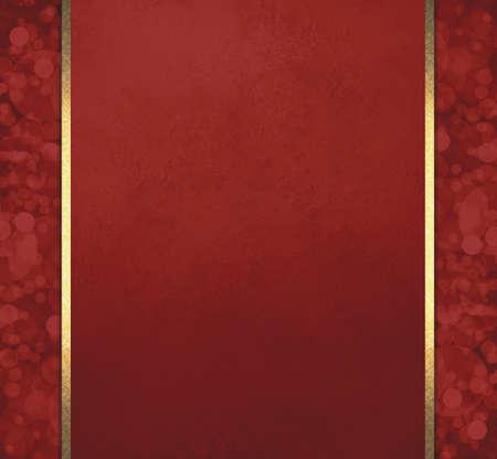 elegant red Christmas background with bokeh lights design sidebar panels and gold ribbon trim design, vintage texture background template with blurred defocused bubbles Foto de archivo