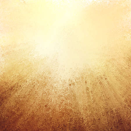 edges: abstract gold background with streaked rays of brown grunge on bottom border, gradient yellow background with soft light and elegant design with copyspace for typography or text on top border Stock Photo