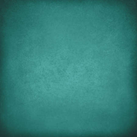 solid blue background: solid blue green background, vintage worn distressed texture, teal wall paint, smeared old paper texture Stock Photo