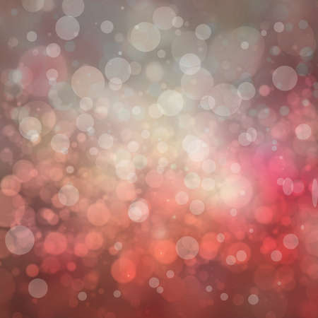 christmas bubbles: red and pink bokeh background, blurred white lights, floating bubbles or layers of circles shapes in pretty Christmas or Valentines day background design