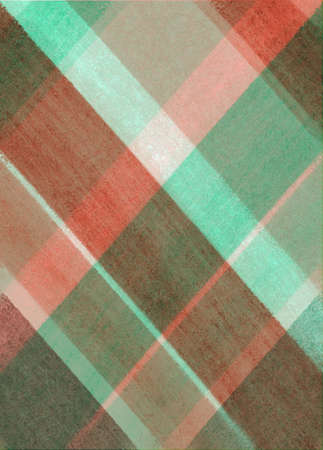 christmas plaid: Christmas plaid striped background in green and red colors, diagonal slanted lines in abstract checkered pattern of blocks squares and rectangles with old distressed vintage texture