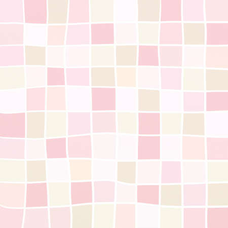 checked: cute background squares in rose pink and orange with abstract white lines in hand drawn stripes