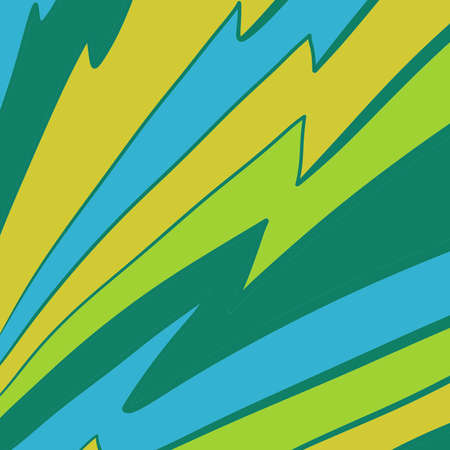 bam: abstract lightning bolt pattern design in comic book or cartoon style inking in bold lime green yellow and blue streaks, jagged striped pattern, kaboom pow or bam cartoon design element Stock Photo