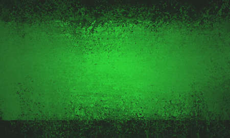 shiny metal background: big bright green stripe with black grunge borders and old vintage paint texture Stock Photo